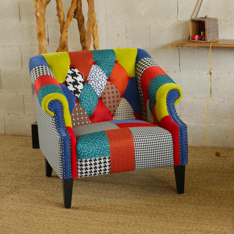 fauteuil patchwork rainbow d cor lie de l 39 art la d co. Black Bedroom Furniture Sets. Home Design Ideas