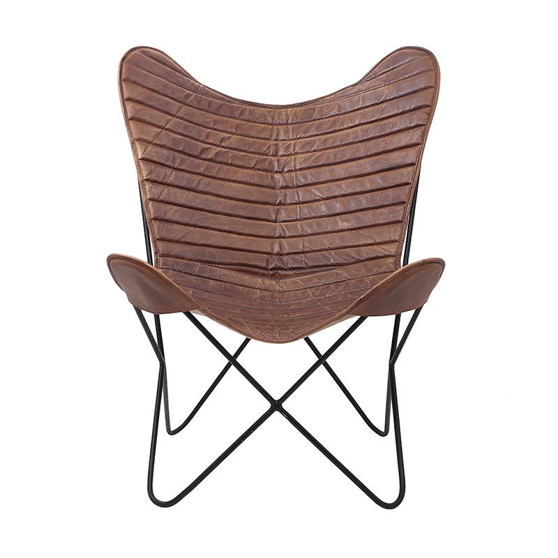 fauteuil cuir et m tal city butterfly d cor lie de l 39 art la d co. Black Bedroom Furniture Sets. Home Design Ideas