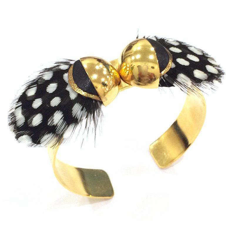 bracelet-manchette-plume-noir-blanc-dore-papillon-ana-gold