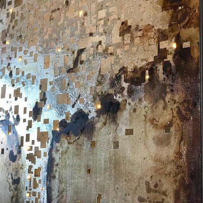 tableau en métal motif arbre, couleur bronze