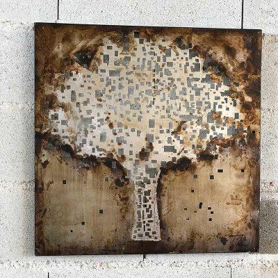 Tableau en métal motif arbre