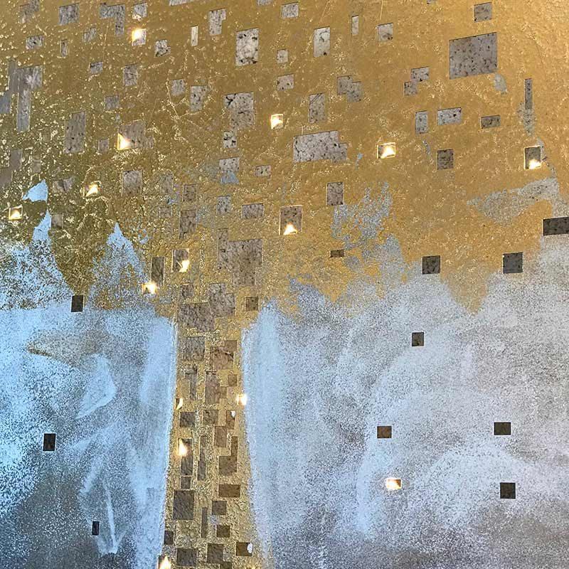 tableau en metal brossé doré et argent