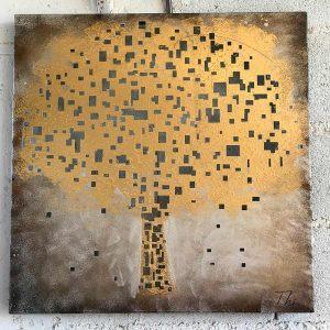tableau arbre en métal doré