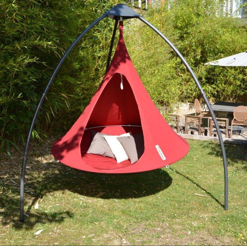 Tente suspendue Cacoon rouge avec porteur