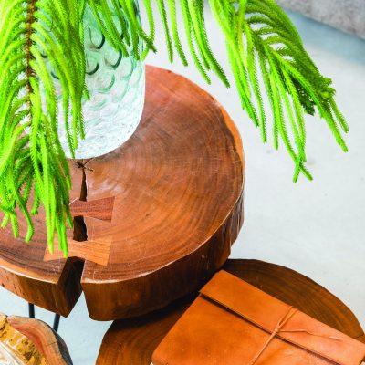 Table d'appoint rondin de bois