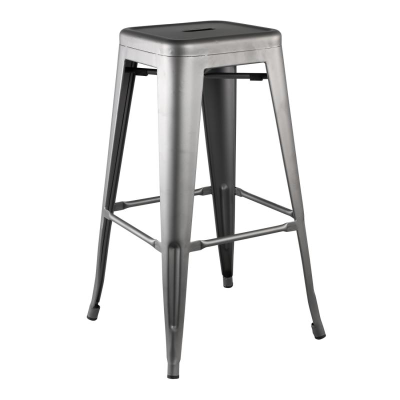 Tabouret de bar en métal gris