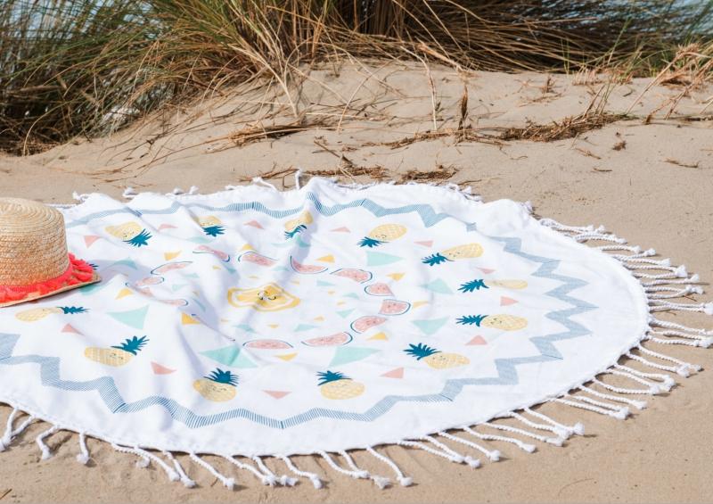 serviette de plage ronde pour enfant decorelie de l 39 art la d co. Black Bedroom Furniture Sets. Home Design Ideas