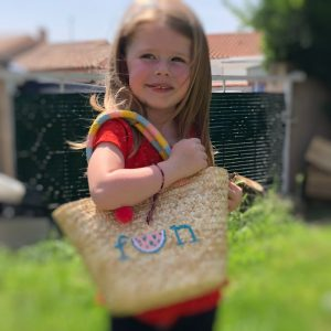 Panier Tutti Frutti avec pompons pour petite fille !