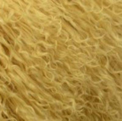 Coussin en laine d'agneau de couleur moutarde la couleur tendance !!!