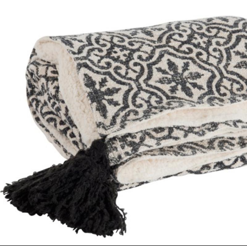 plaid oriental noir et blanc decorelie de l 39 art la d co. Black Bedroom Furniture Sets. Home Design Ideas