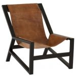 Chaise Relax Cuir et métal Cognac