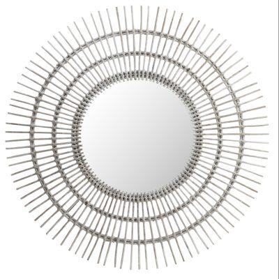 Miroir en rotin de couleur balnche