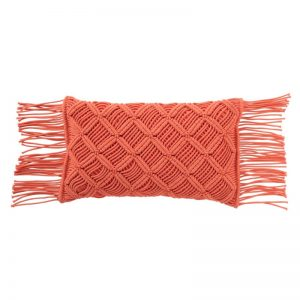 Coussin macramé long orange