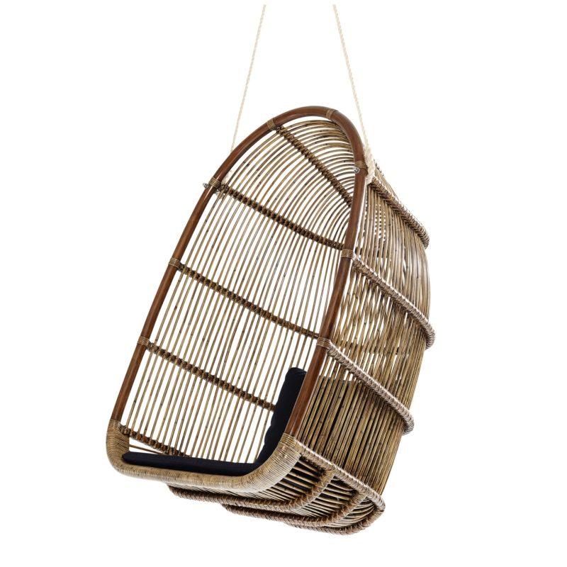 fauteuil suspendu rotin vintage