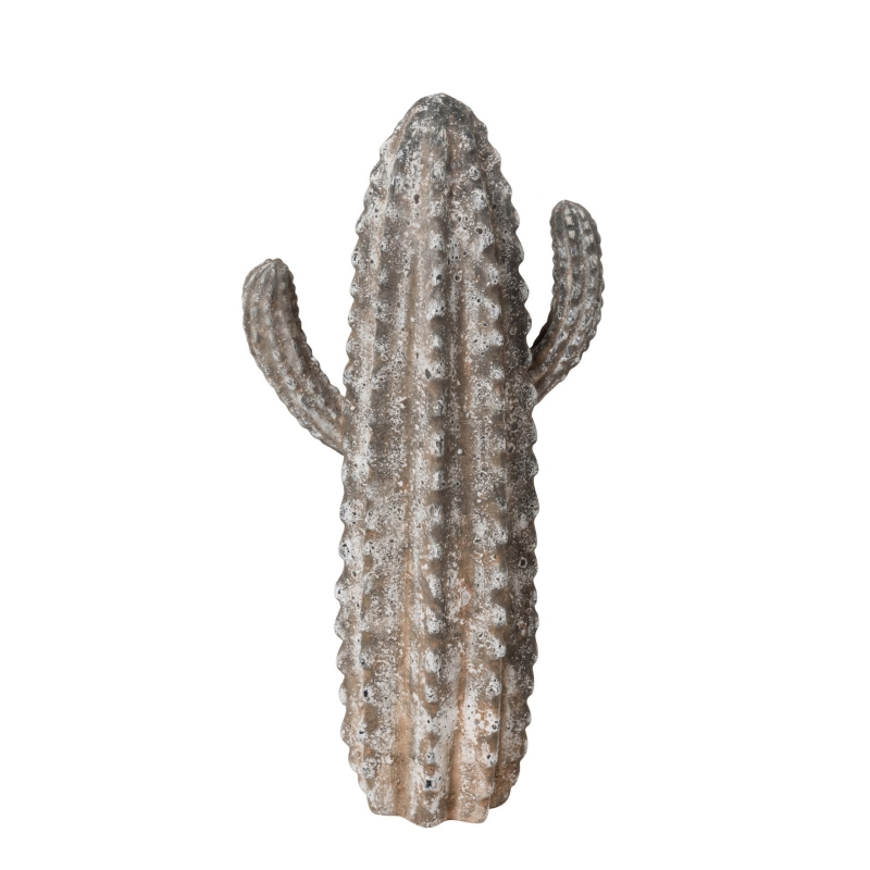 Cactus décoratif en résine Gris
