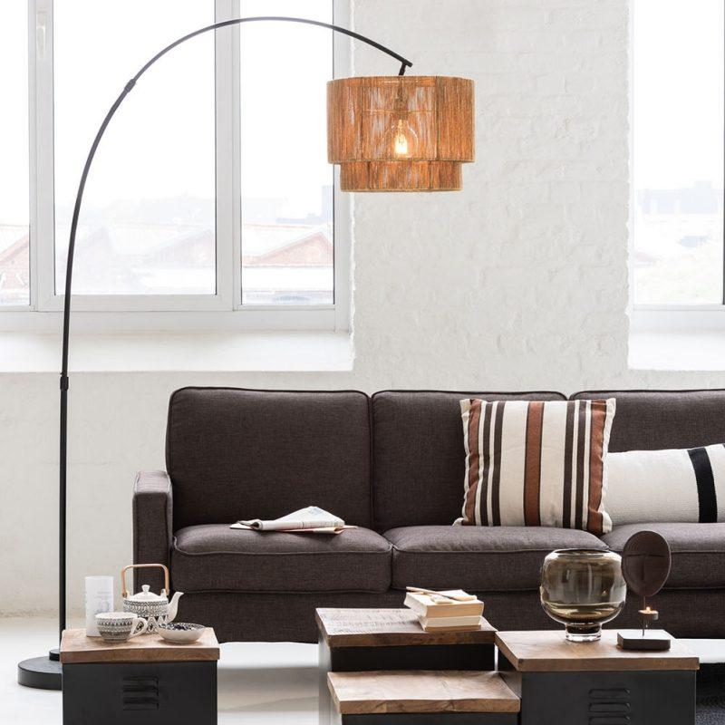 Lampe sur Pied cordelettes et métal noir