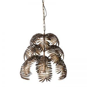Suspension feuilles de palmier en métal doré