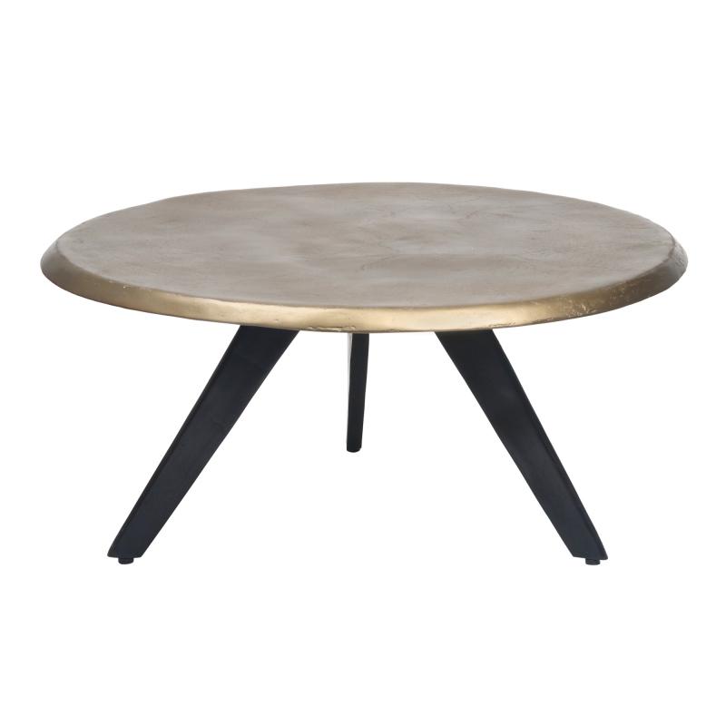 Table basse ronde en fonte d'aluminium doré