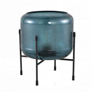 Lampe à poser verre teinté bleu