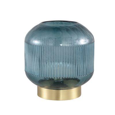 Lampe à poser métal doré et verre bleuté