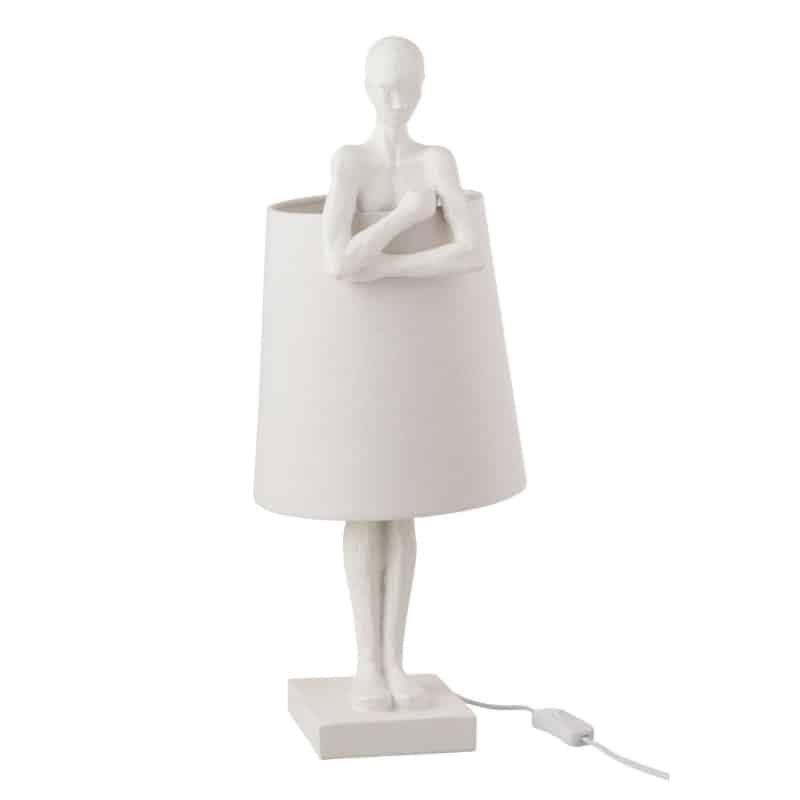 Lampe personnage en résine blanche
