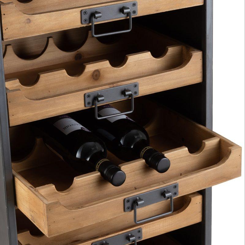 Rangement bouteilles de vin bois et métal.