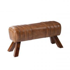 Banc en cuir et bois massif