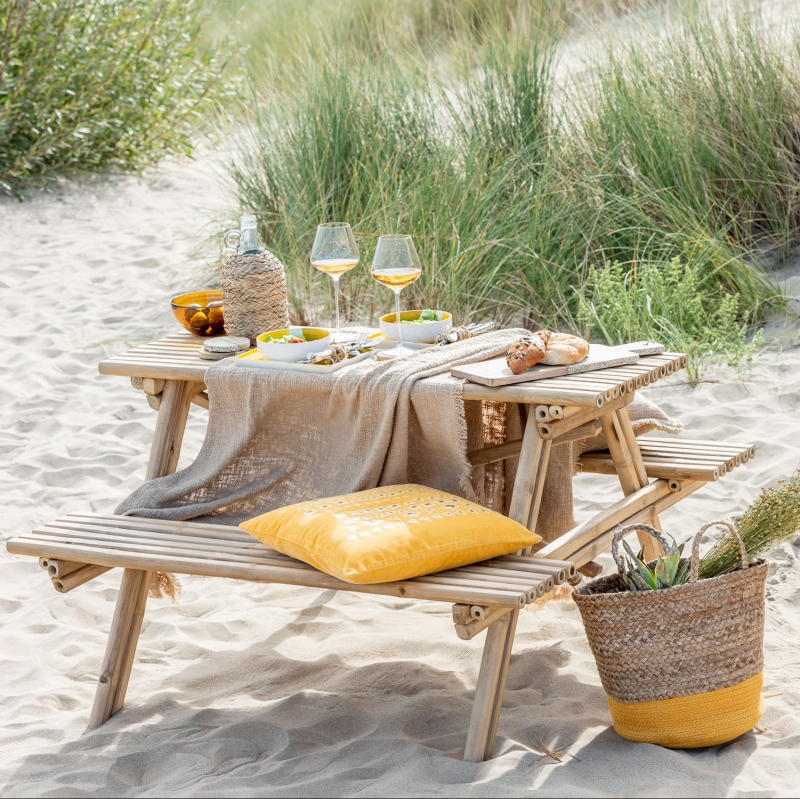 Table banc en bambou