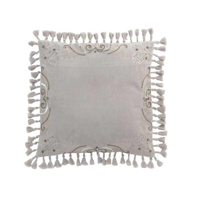 Coussin marocain velours gris