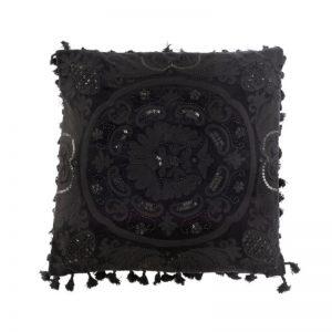Coussin marocain en coton noir