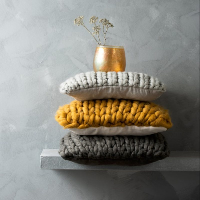 Coussin tricoté grosse maille