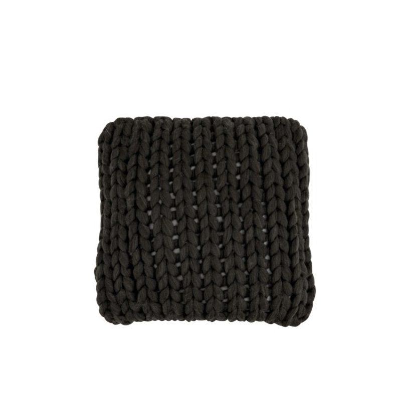 Coussin tricoté grosse maille gris foncé
