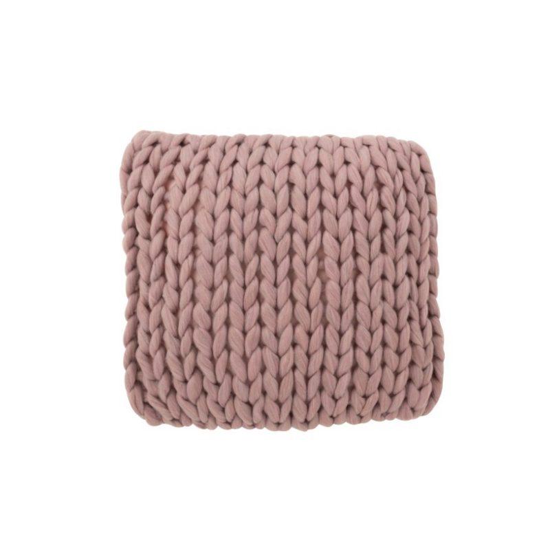 Coussin tricoté grosse maille mauve