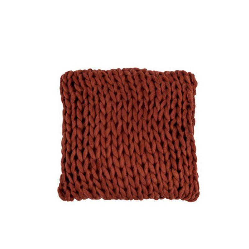 Coussin tricoté grosse maille brique