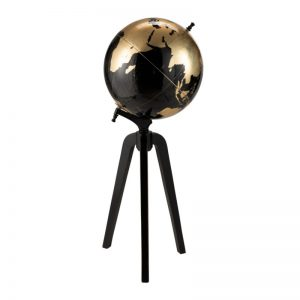 Globe sur pied noir et or