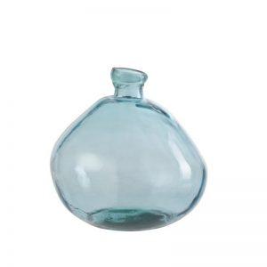 Vase en verre bleuté