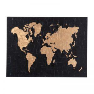 Tableau planisphère or et noir