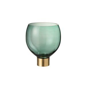 Vase rond bleu et doré