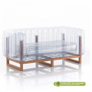 Canapé en TPU et bois, matière éco-responsable